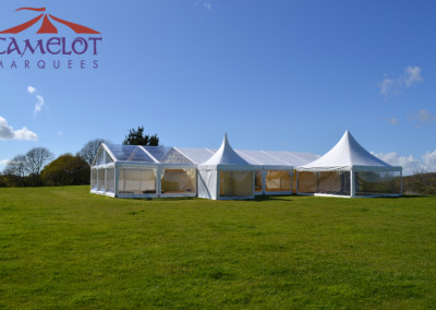 Wilkswood marquee set-up | Clear roof | Pagoda entrance