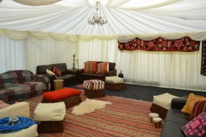 themed marquee chillout area