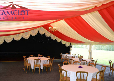 Gold banquet chairs | Red drapes | starlight dancefloor