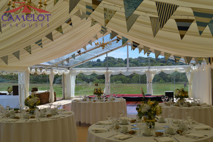wedding marquee with clear roofs