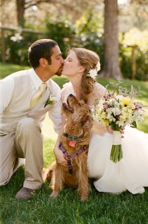 Wedding couple and their adorable dog