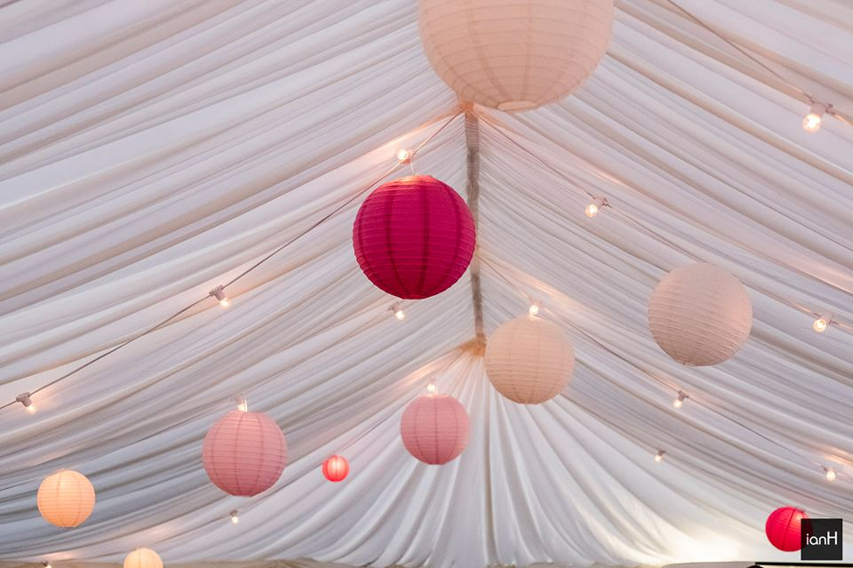 Pretty in pink lanterns and festoon