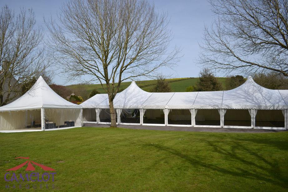Wedding marquee with peaked roofs
