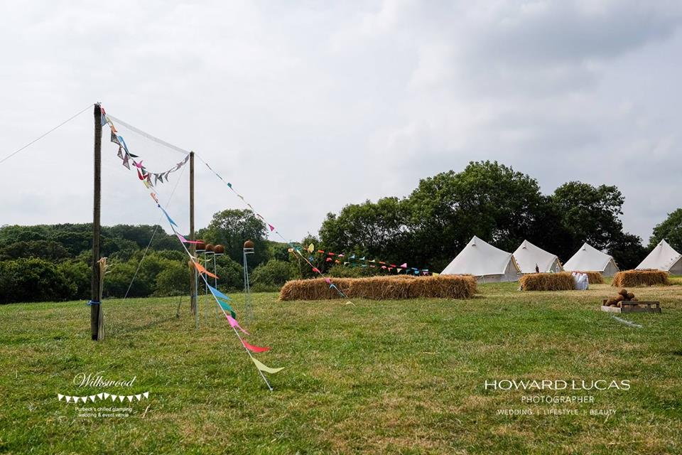 Bunting and games at Wilkswood wedding venue