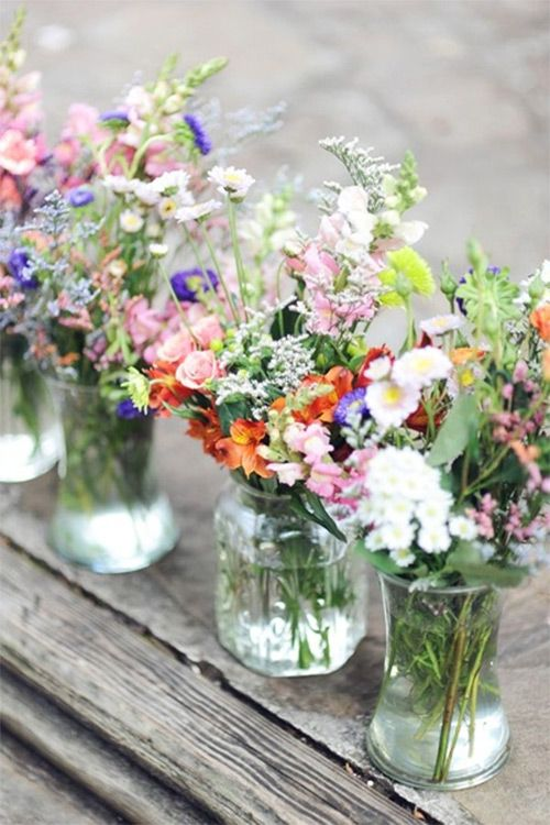 garden flowers in jars